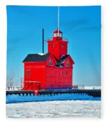 Winter At Big Red Fleece Blanket