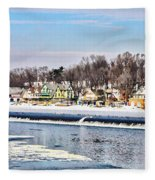 Winter At Boathouse Row In Philadelphia Fleece Blanket