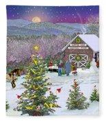 Winter At Campton Farm Fleece Blanket