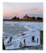 Winter At East Point Lighthouse  Fleece Blanket