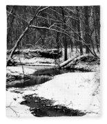 Winter At Pedelo Black And White Fleece Blanket