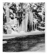 Winter At The Creek Monochrome Fleece Blanket