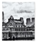 Winter At The Fairmount Waterworks In Black And White Fleece Blanket