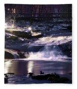 Winter At The Woodlands Waterfall In Wilkes Barre Fleece Blanket