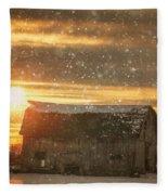 Winter Barn At Sunset Fleece Blanket