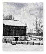 Winter Barn Impasto Version Fleece Blanket