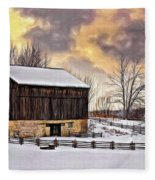 Winter Barn - Paint Fleece Blanket