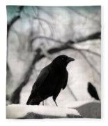 Winter Blackbirds Fleece Blanket