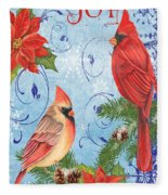 Winter Blue Cardinals-joy Card Fleece Blanket