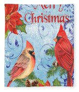Winter Blue Cardinals-merry Christmas Card Fleece Blanket