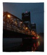Winter Bridge In Fog 2 Fleece Blanket