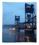 Winter Bridge In Fog Fleece Blanket