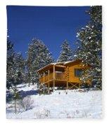 Winter Cabin Fleece Blanket