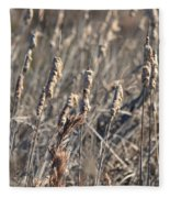 Winter Cattail Abstract Fleece Blanket