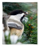 Winter Chickadee With Seed Fleece Blanket