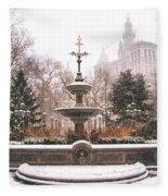 Winter - City Hall Fountain - New York City Fleece Blanket