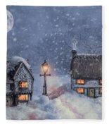 Winter Cottages In Snow Fleece Blanket