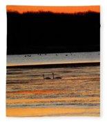 Winter Dawn Swans Fleece Blanket