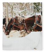 Horses Eating In Snow Fleece Blanket