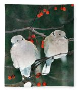 Winter Doves Fleece Blanket