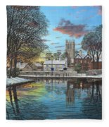 Winter Evening Tickhill Yorkshire Fleece Blanket