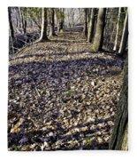 Winter Fall On The Trail Fleece Blanket