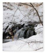 Winter Falls On Big Stone Lake Mn Fleece Blanket