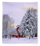 Winter Farm Scene Fleece Blanket