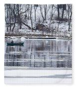 Winter Fishing - Wisconsin River Fleece Blanket