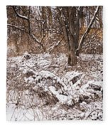 Winter Forest Panorama Fleece Blanket