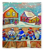 Winter Fun At Hockey Rink Magical Montreal Memories Rink Hockey Our National Pastime Falling Snow   Fleece Blanket