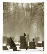Winter Graveyard Crows Fleece Blanket