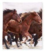 Winter Hardened Wild Horses Fleece Blanket