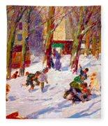 Winter High Bridge Park Fleece Blanket