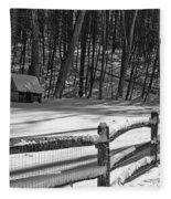 Winter Hut In Black And White Fleece Blanket