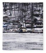 Winter Ice Lake Scene Hopatcong Covered Port Fleece Blanket
