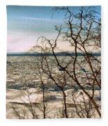 Winter Ice On Lake Michigan Fleece Blanket