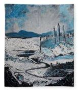 Winter In Ancient Ruins Fleece Blanket