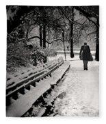 Winter In Central Park Fleece Blanket