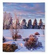 Winter In Pink Color Fleece Blanket