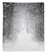 Snowing In The Forrest Fleece Blanket