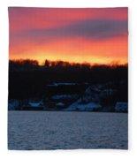 Winter Lake Sunset Fleece Blanket