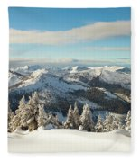 Winter Landscape In British Columbia Fleece Blanket