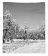 Winter Landscape In Bw Fleece Blanket