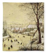 Winter Landscape With Skaters And A Bird Trap Fleece Blanket