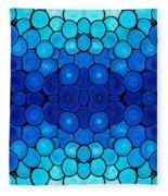 Winter Lights - Blue Mosaic Art By Sharon Cummings Fleece Blanket