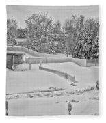 Winter Lines Black And White Fleece Blanket