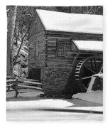 Winter Mill In Black And White Fleece Blanket