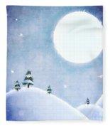 Winter Moon Over Snowy Landscape Fleece Blanket