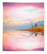 Winter Morning At Okanagan Lake Fleece Blanket